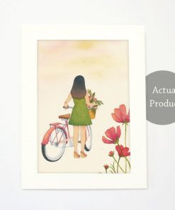 Art Print - Cycling slowly in slow living collection by Eding Illustration