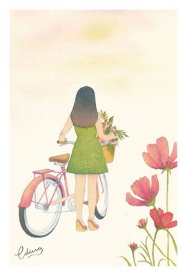 Cycling slowly - slow living collection Watercolor painting by Eding Illustration