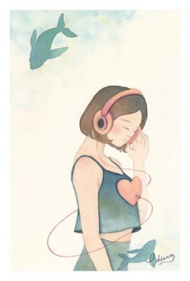 Listen to your heart - slow living collection Watercolor painting by Eding Illustration