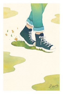 One step at a time - slow living collection Watercolor painting by Eding Illustration