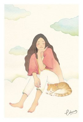 Retreat to gain new perspectives - slow living collection Watercolor painting by Eding Illustration