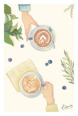 Tasting the flavours of life - slow living collection Watercolor painting by Eding Illustration