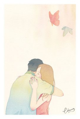 True intimacy joins hearts - slow living collection Watercolor painting by Eding Illustration