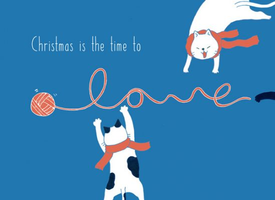 christmas card christmas is the time to love cats xmas card by Eding Illustration