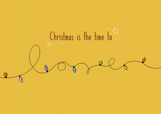 christmas card christmas is the time to love yellow light bulb by Eding Illustration