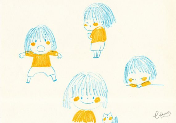 peach and coco cute character little girl and hamster 1 by Eding Illustration