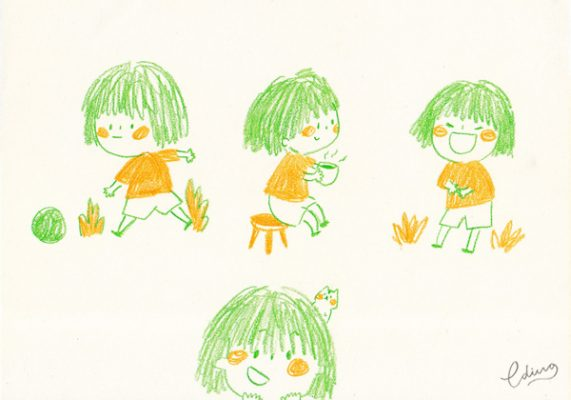 peach and coco cute character little girl and hamster 2 by Eding Illustration