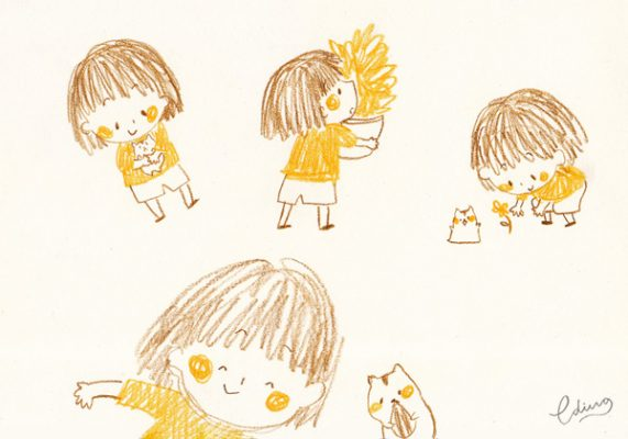 peach and coco cute character little girl and hamster 3 by Eding Illustration
