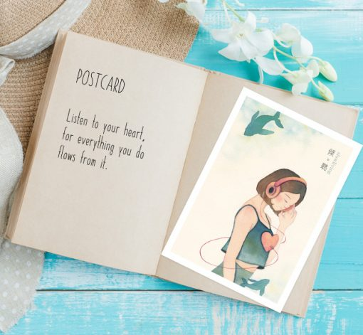 postcard- Listen in slow living collection 1 by Eding Illustration