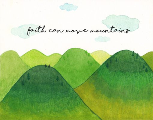 wishes card religious for christian with bible verse faith can move mountains encouragement by Eding illustration