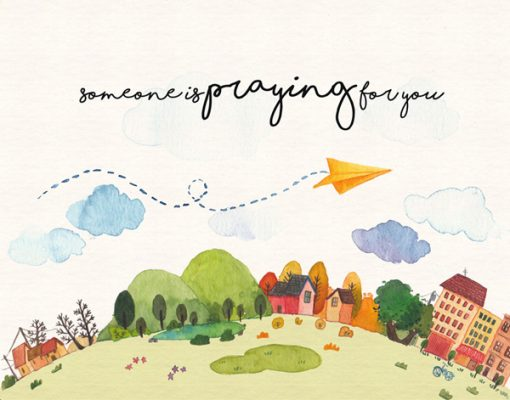 wishes card remember you even in long distance someone is praying for you by Eding illustration